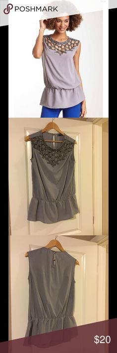Love Stice Blouse Bead Embellished Cut Out Top. Beautiful, light weight, gently worn Love Stitch Tops Blouses
