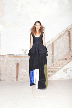 Cynthia Rowley Spring 2013, Voluptuously volumed pants with color block are fresh for spring!