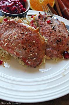 Baked Pork Chops & Rice with Kickin' Cranberry Sauce