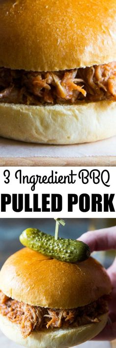 Learn the secret ingredient for Slow Cooker Pulled Pork so tender, it falls apart! Just two ingredients (plus your favorite sauce) and no browning needed!