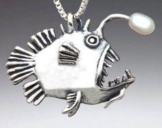 Angler Fish Charm Pendant with Pearl - Angler Fish Jewelry - Fish Charm Fish Pendant Fish Necklace