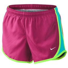 Monogrammed Girls Nike Running Shorts - Rose Pink Shorts with Aqua Sides and Lime Trim from MeadowCrestMonograms on Etsy. Saved to my love for nike. Rugby Shorts, Sport Shorts, Pink Shorts, Comfy Shorts, Soccer Outfits, Nike Outfits, Sport Outfits, Beach Outfits, Nike Tempo Shorts