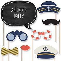 Ahoy - Nautical - Baby Shower Photo Booth Props Kit - 20 Props..Use Coupon Code: Modern11 and Save 11%