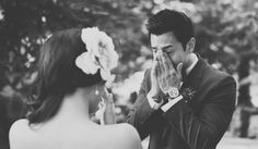 """The """"First Look"""" photo is one of the most powerful pictures taken at a wedding. Whether the marrying couple sees each other before the ceremony, or for the first time while walking down the aisle, the moment is so emotional that it almost always makes for a moving photograph."""