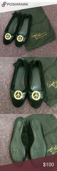 Black Suede Haley Ballet Flats Adorable Donald J pliner peace sign ballet flats. Black suede with Croc details. 2 rhinestones missing on the right shoe but those will be replaced at the time of sale. Comes with the original bag. Donald J. Pliner Shoes Flats & Loafers