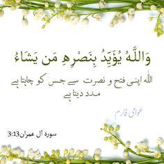 وَاللَّـهُ يُؤَيِّدُ بِنَصْرِهِ مَن يَشَاءُ-  اللہ اپنی فتح و نصرت سے جس کو چاہتا ہے، مدد دیتا ہے