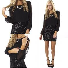 """Stay fabulous in the NEW """"slit sleeve sequin dress"""" ($39.99) available in store at #sophieandtrey and online at www.sophieandtrey.com! #freeshipping #cutedress #ootd #love #fashion"""