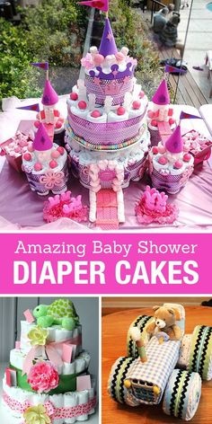 Creative Diaper Cakes! Cute DIY Baby Shower Party Ideas. Love these cute ideas for new baby girl or boy gifts and party table centerpieces. Lots of great tutorials for how to make a diaper cake and onsie cakes. So cute!