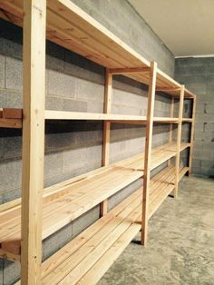 Free plans to build garage shelving using only 2x4s. Easy and inexpensive, but sturdy and functional. Includes video tutorial from ana-white.com