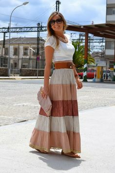 How to Look Casual Chic in Maxi Skirts Modest Dresses, Modest Outfits, Modest Fashion, Boho Fashion, Fashion Outfits, Fashion Design, Modest Clothing, Fashion 2015, Women's Dresses