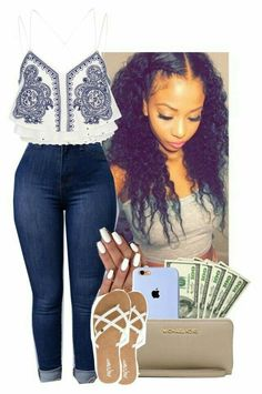 A fashion look from August 2016 featuring River Island tops, Volcom sandals and MICHAEL Michael Kors clutches. Browse and shop related looks. Swag Outfits, Dope Outfits, Casual Outfits, Girl Outfits, Fashion Outfits, School Outfits, Spring Summer Fashion, Spring Outfits, Outfit Elegantes