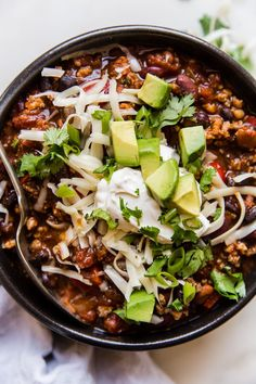 Beef, pork, three kinds of beans and spices to spare conspire to make this hearty, stick-to-your-ribs chili your family's new game day go-to. Best Chili Recipe, Chili Recipes, Soup Recipes, Recipies, Slow Cooking, Chile, Award Winning Chili, Chili Sin Carne, Kinds Of Beans