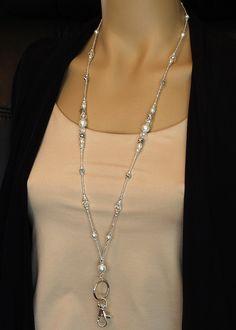 Silver & Pearl Beaded Lanyard, elegant ID badge holder magnetic clasp, fancy silver lanyard, teacher Beaded Jewelry, Handmade Jewelry, Silver Jewelry, Beaded Lanyards, Id Badge Holders, Lanyard Badge Holder, Silver Pearls, Pearl Beads, Crystal Rhinestone