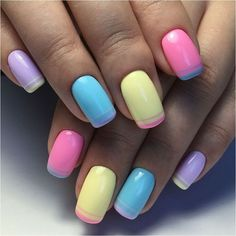 Beach nails, Beautiful nail colors, Color french gel nail, Color french manicure, Colorful nails 2017, Fun summer nails, Manicure for swimsuit, Multi-colored french manicure