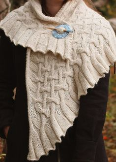 Knitting Pattern for Drift Shawl - This cable triangular shawl is 58″ W x 24″ D.