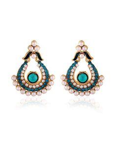 Designer Earrings with pearls, stones, mina work. Item Code: JRUM538 http://www.bharatplaza.com/new-arrivals/jewellery.html