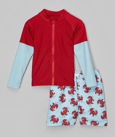 Look at this Blue Crab Rashguard Set - Infant, Toddler & Boys on #zulily today!