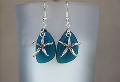 Blue Silver Sea glass Earrings Sea glass Jewelry by DRaeDesigns, $14.00