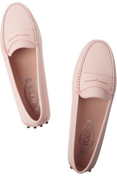 Pale-pink textured-leather Slip on Made in Italy