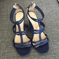 JCrew Navy Strappy Heel I wore these to one wedding and haven't had a reason to use them since. Super cute for spring and summer :)! Tiny bit of sticky stuff inside from where I removed clear Dr Scholls inserts. J. Crew Shoes Heels