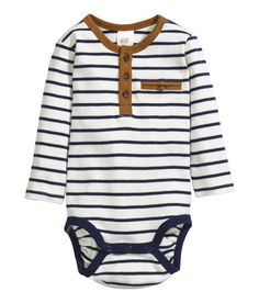Check this out! Long-sleeved bodysuit in soft, striped cotton jersey. Buttons at front, small chest pocket, and snap fasteners at gusset. - Visit hm.com to see more.