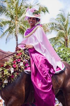 Pa'u (pah-OOH) rider, 2011 King Kamehameha Day Parade in Honolulu...beauty, flowers and horses -- all in one place. Photo by Chris Coguon.