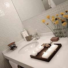 Pale gray or pale grey mosaic with white grout in bathroom ...beautiful