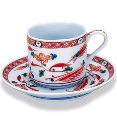 九谷焼コーヒーカップ 赤絵 長右衛門窯