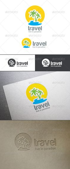 Logo Travel Palm Island — Photoshop PSD #template #business • Available here → https://graphicriver.net/item/logo-travel-palm-island/8098773?ref=pxcr