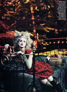 Natalia Vodianova as Little Red Riding Hood - Into the Woods - Natalia Vodianova by Mert & Marcus for Vogue US September 2009 Natalia Vodianova, High Fashion Photography, Editorial Photography, Fairy Photography, Stunning Photography, Glamour Photography, Outdoor Photography, Color Photography, Lifestyle Photography