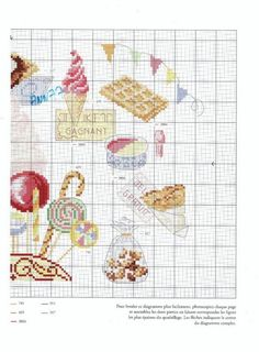 Ice Cream Macaroons Tarts Fruit  Desserts  Cross stitch. There must be over 100 sweet and cute designs and patterns in this book. Would be cute for kitchen towels placemats mug rug aprons or anything Russian Site huge craft library.
