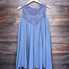slate blue boho crochet lace dress