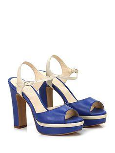 Alexandra - Sandalo alto - Donna - Sandalo alto in pelle delavè effetto vintage con cinturino alla caviglia e suola in gomma. Tacco 130, platform 30 con battuta 100. - BLUETTE\BIANCO - € 155.00