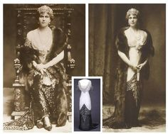 """Queen Maude of Norway wearing the """"Arlesienne"""" evening gown, House of Worth, 1912-13."""