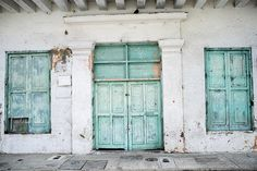 Turquoise, Doors, Wooden, Old