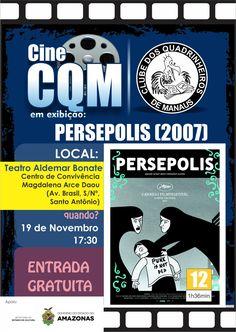 """Banner de divulgação do Cine CQM de novembro de 2016, com o filme francês """"Persepolis"""" do ano de 2007."""