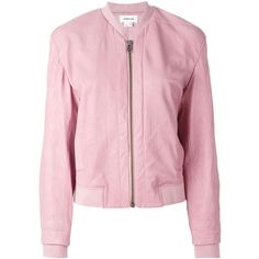 Helmut Lang Classic Bomber Jacket (65.830 RUB) ❤ liked on Polyvore featuring outerwear, jackets, coats, bomber jackets, helmut lang, flight jacket, lamb leather jacket, bomber jacket, lambskin leather bomber jacket and pink bomber jacket