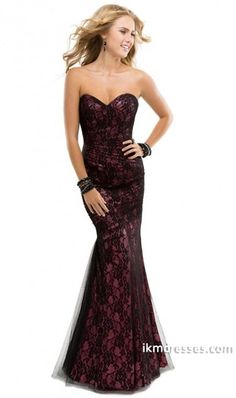 015 Chic Evening Gown Purple Sweetheart Mermaid Floor Length Corset Black Lace Tulle Illusion http://www.ikmdresses.com/2014-Chic-Evening-Gown-Purple-Sweetheart-Mermaid-Floor-Length-Corset-Black-Lace-Tulle-Illusion-p85103