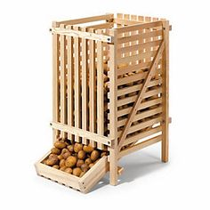 The rack is delivered disassembled; assembly instructions are included. The pine is planed and untreated; the screws are... - Pine Wood Potato Rack