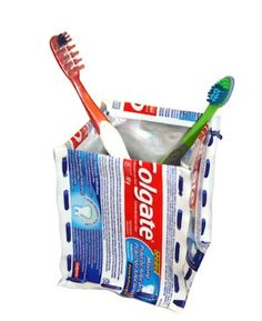 Recycle toothpaste tubes and make a square toothbrush holder in this recycling project from Colgate and TerraCycle. Colgate Toothpaste, Toothpaste Holder, Toothbrush Holders, Upcycled Crafts, Diy Crafts, Bathroom Caddy, Bathroom Stuff, Small Bathroom, Bathrooms
