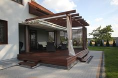 Pergola With Retractable Canopy Code: 3317871440 Wood Pergola, Deck With Pergola, Outdoor Pergola, Backyard Pergola, Pergola Shade, Pergola Plans, Pergola Kits, Pergola Ideas, Back Patio