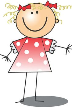 Free Clip Art Of A Happy Blond Girl In A Pink Polka Dot Dress