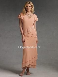 Pencil V-Neck Cap Short Sleeve Tea-length Chiffon Mother of the Bride Dress