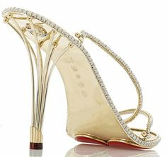 Meet the Eternal Borgezie Diamond Stiletto – individually handcrafted stilettos comprised almost entirely of gold and diamonds. Each pair of stilettos are handcrafted from gold or platinum, t… Most Expensive Shoes, Diamond Shoes, Stiletto Shoes, Strappy Shoes, Diamonds And Gold, Gold Sandals, Gold Shoes, Beautiful Shoes, Wedding Shoes