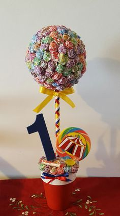 Carnival Circus Medium Dum Dum Topiary Tree by MomentsbyAnabella Circus First Birthday, Circus 1st Birthdays, Lollipop Birthday, Lollipop Tree, First Birthdays, Turtle Birthday, Turtle Party, Carnival Themed Party, Carnival Birthday Parties