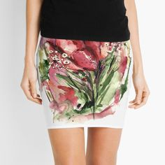 Designs, Floral, Illustration, Skirts, Painting, Color, Fashion, Tulips, Mini Skirts