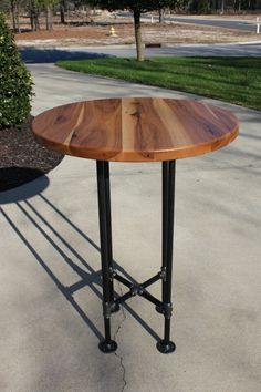 Hickory wood top with black pipe bar table. & Pub Table Bar Table Recycled Metal Crafts Materials: Pub Table Bar ...