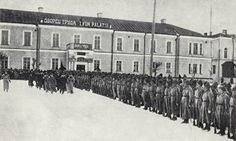 """Reds"", 1928. The (Communist) Karelian Jäger Battalion on parade in Petrozavodsk. A build up of military forces ensued on both sides between the two world wars.  The totalitarianism in Finland noted in the 1980s and 1990s is mostly a product of the German side (Jaegers), followed by Italy's Fascist influences and WW II's preachings of Mussolini.  The Communist socialism in turn came due to Russia (in this photo)."