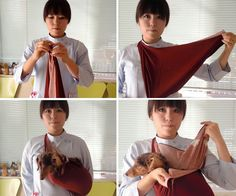 "How to make a sling using furoshiki. 1) Fold ""furoshiki"" square cloth diagonally into a triangle and firmly tie the edges into a knot; 2) Hang the ring around your neck; 3) Put your pet in the bag-shaped part and bring the two free points up around the front and back of the same shoulder and tie securely together; 4) Your sling should look like this. (Photos provided by Yoko Abe)"