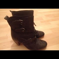 All Saints Siri Boot All Saints 'Siri' Black leather and suede cap toe 3 buckle booties with 3 inch heel. Size EU40/ US10 Gently worn All Saints Shoes